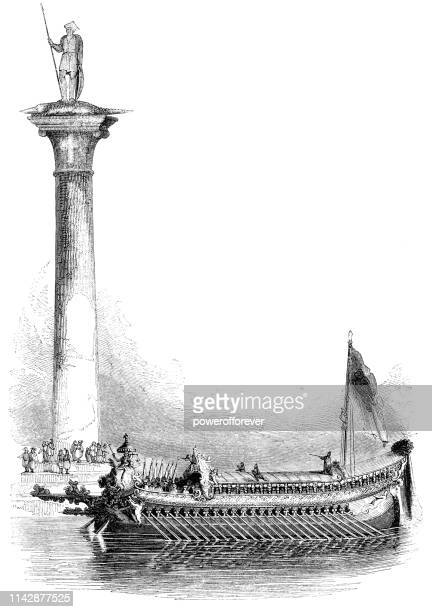 Column of San Theodore and Galley Ship in Venice, Italy - 16th Century