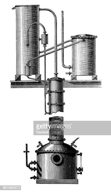 Columns apparatus for continuous rectification, a process that creates a rectified spirit (alcohol)