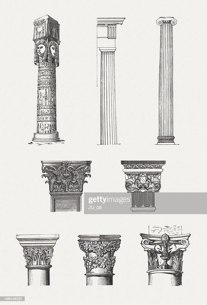 Columns Order Egyptian Doric Ionic Corinthian Arabic Romanesqe Gothic