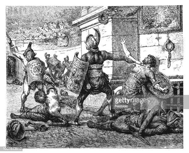 ilustrações de stock, clip art, desenhos animados e ícones de combat of the roman gladiators - luta de espadas