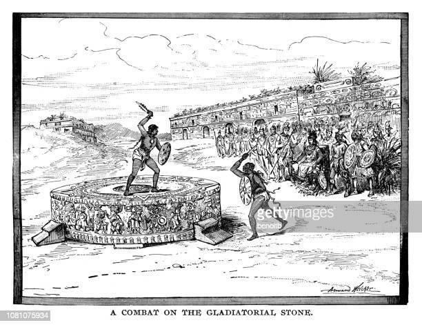 combat on the gladiatorial stone - aztec stock illustrations