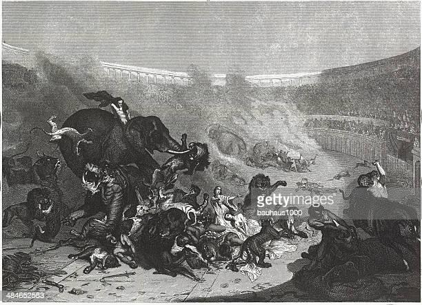 ilustrações, clipart, desenhos animados e ícones de combat com wild fera no coliseu romano - coliseu
