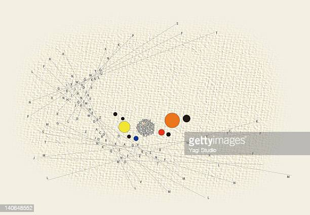 combination of shapes and alphabets - complexity stock illustrations