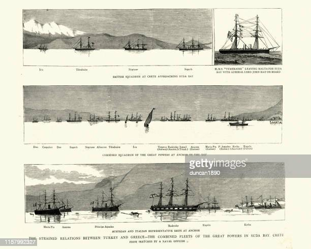combined fleets of the great powers in suda bay, crete, 1886 - greek islands stock illustrations, clip art, cartoons, & icons