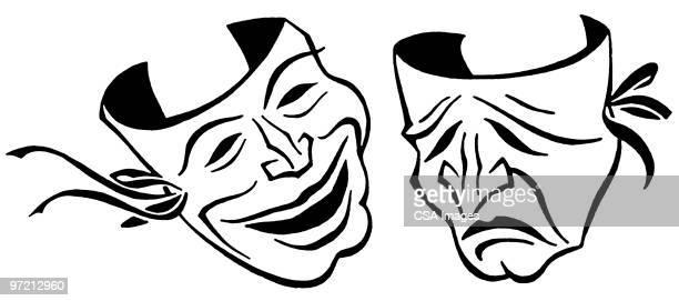 comedy and tragedy masks - 悲劇の面点のイラスト素材/クリップアート素材/マンガ素材/アイコン素材
