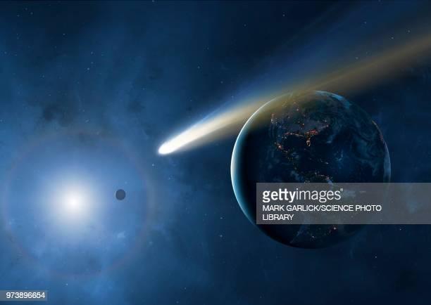 ilustraciones, imágenes clip art, dibujos animados e iconos de stock de comet and earth, illustration - cometa espacio