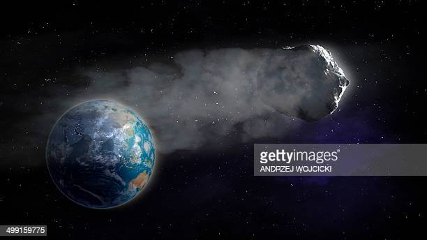 Comet flying towards earth, artwork