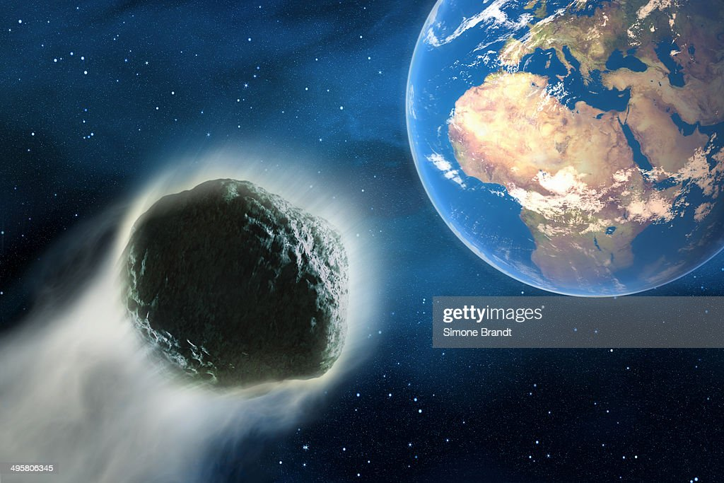 Comet hurtling towards Earth, 3D illustration : stock illustration
