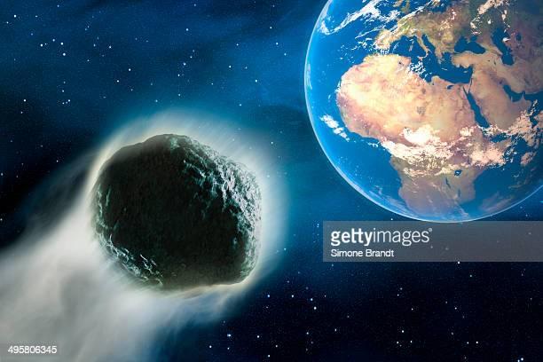 Comet hurtling towards Earth, 3D illustration