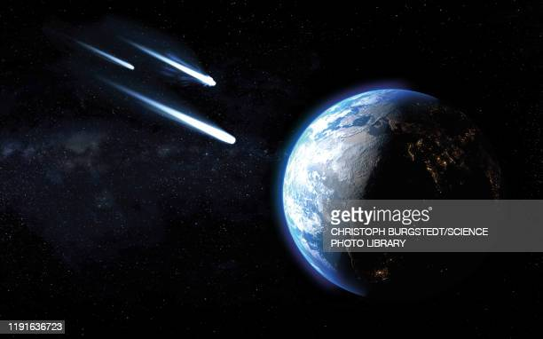 comets passing by earth, illustration - artistic product stock illustrations