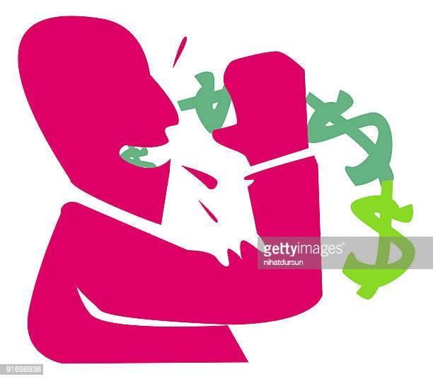 Comic figure of a man drinking dollars
