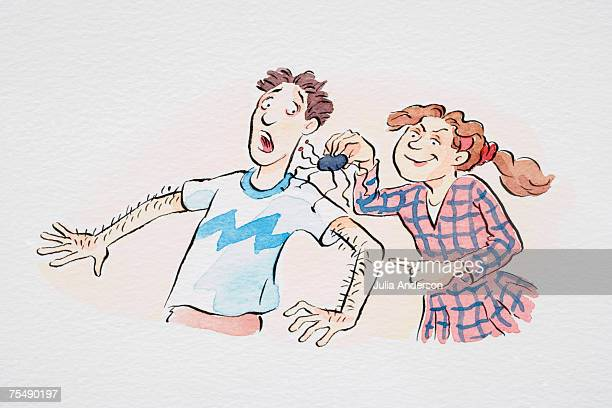 Comical depiction of girl scaring boy with spider to produce goose bumps