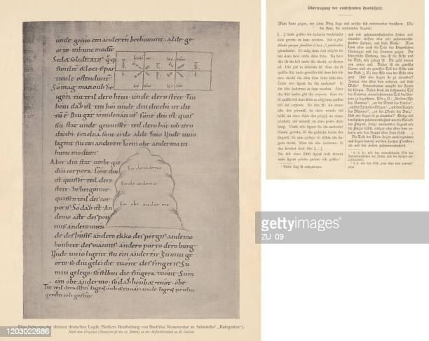"commentary (11th century) on aristotle's ""categories"", facsimile, raster print, 1897 - aristotle stock illustrations"