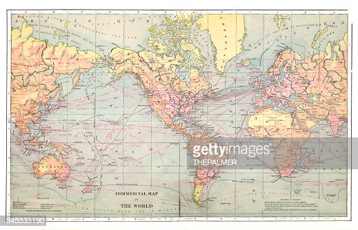 1892 Map Of The World.Commercial Map Of The World 1892 Stock Illustration Getty Images