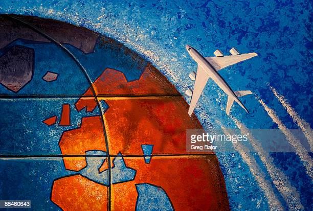 commercial plane flying over globe - greg bajor stock illustrations