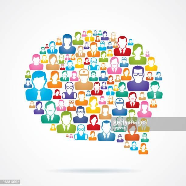 ilustraciones, imágenes clip art, dibujos animados e iconos de stock de vector de comunicación - cuestionario