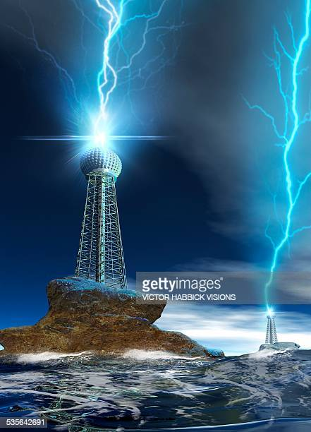 communications tower with lightning - communications tower stock illustrations