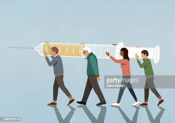 community carrying large vaccination syringe - full length stock illustrations