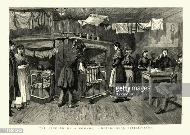 community kitchen, common lodging house, spitalfields, victorian london, 19th century - east london stock illustrations