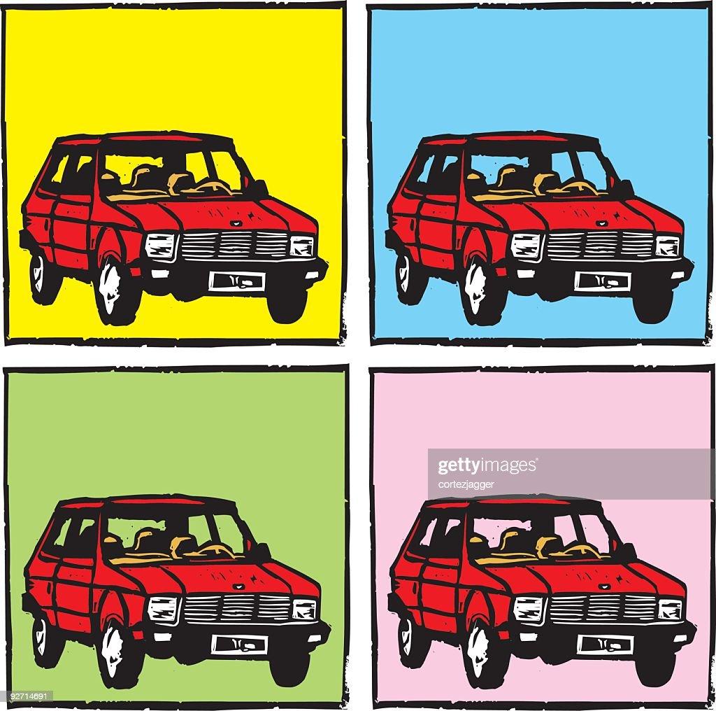 Compact Car Coasters (vector illustration)