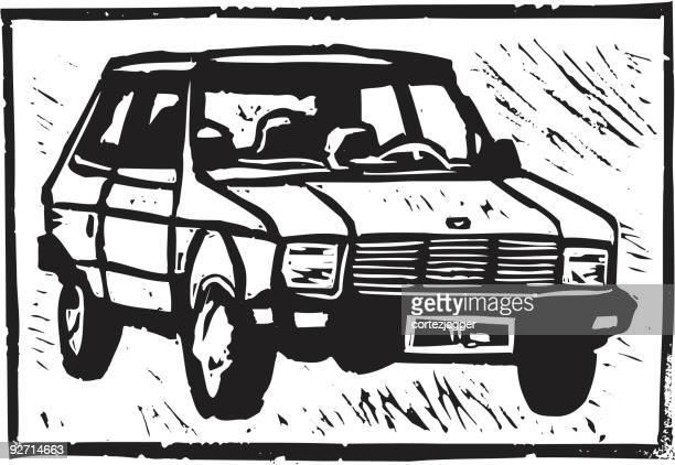 小型サイズの車:yugo ます。リノリウム版画(ベクトルイラスト - リノリウム点のイラスト素材/クリップアート素材/マンガ素材/アイコン素材