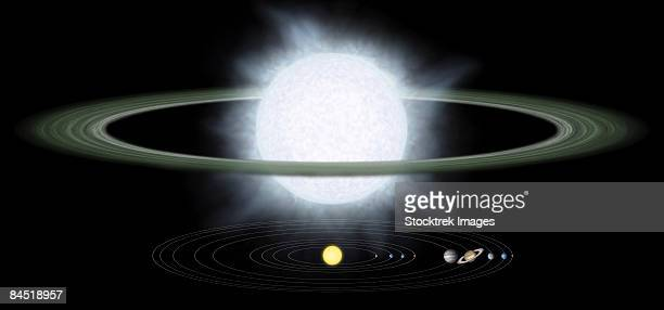 comparison of the size of a hypergiant star to that of our solar system. - imagem a cores stock illustrations