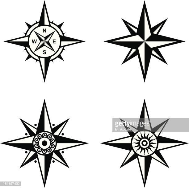 コンパスセット - 円形方位図点のイラスト素材/クリップアート素材/マンガ素材/アイコン素材
