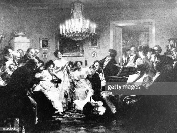Composer Franz Schubert plays piano
