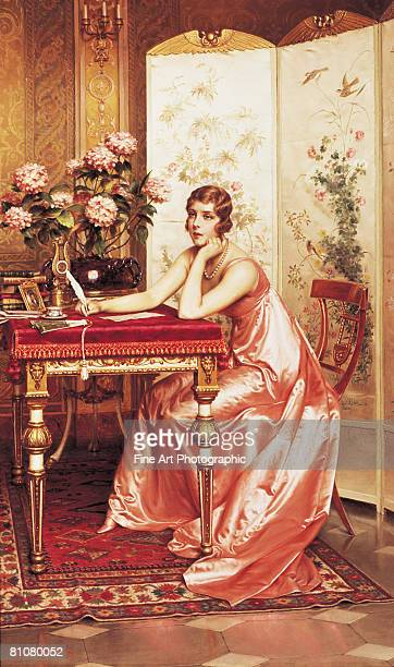 composing a letter - one young woman only stock illustrations