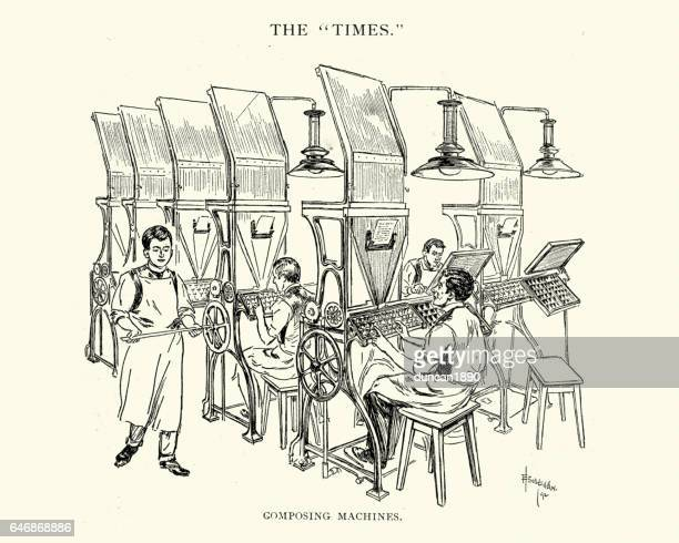 Composing machines at the Times Newspaper, 1892