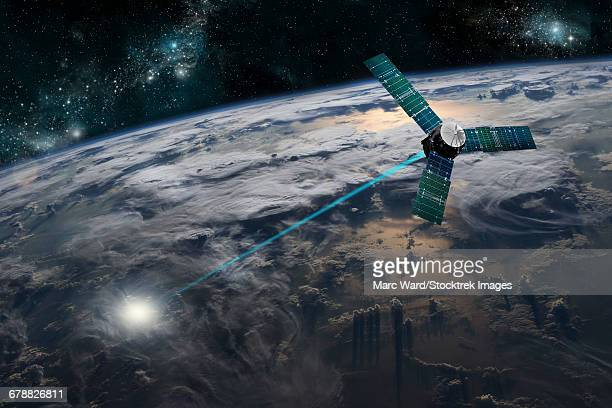illustrations, cliparts, dessins animés et icônes de a composite image of a satellite firing an energy weapon at a target on earth. - conflit