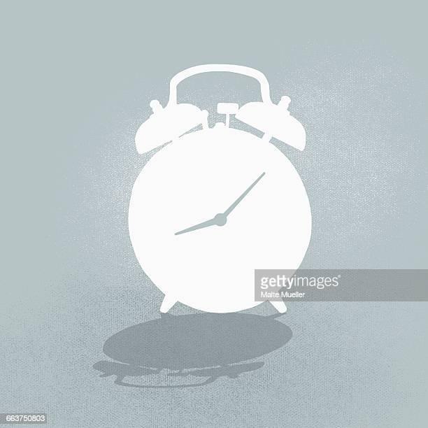 composite image of alarm clock against gray background - alarm clock stock illustrations