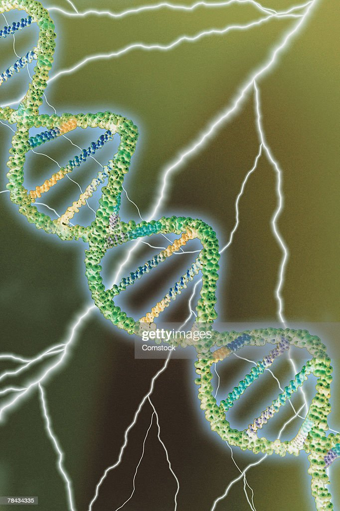 Composite of lightning bolts and DNA double helix : Stockillustraties