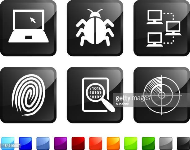 Computer bug and virus protection royalty free vector icon set