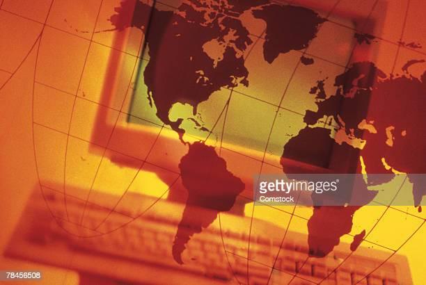 ilustraciones, imágenes clip art, dibujos animados e iconos de stock de computer composite with graphic of the world - doble exposicion negocios