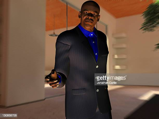 Computer generated illustration of a businessman holding out his hand for a handshake