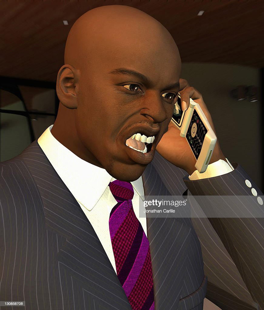 Computer generated illustration of a businessman shouting on his mobile phone : Ilustração de stock