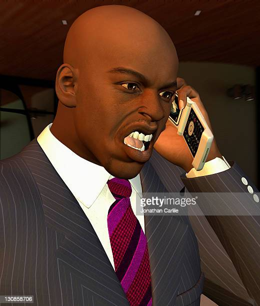 Computer generated illustration of a businessman shouting on his mobile phone