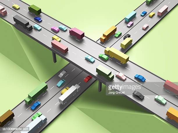 computer generated image of cars on motorway - transportation stock illustrations