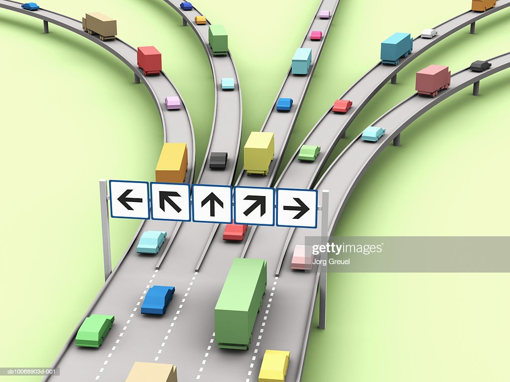 Computer generated image of cars on motorway : Stock Illustration
