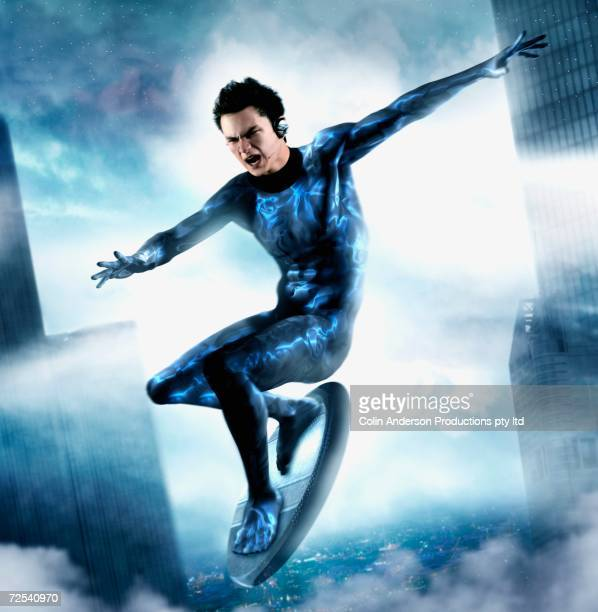 computer generated image of male super hero flying though air on board - one young man only stock illustrations