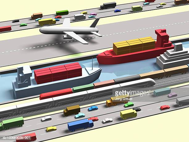 computer generated image of various modes of transport - transportation stock illustrations