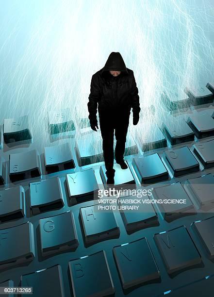 computer hacker, illustration - spooky stock illustrations