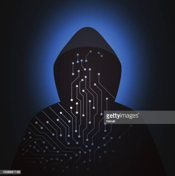 computer hacker with new tech of artificial intelligence, hooded man - phishing stock illustrations
