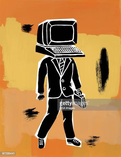 illustrations, cliparts, dessins animés et icônes de ordinateur-head - racisme