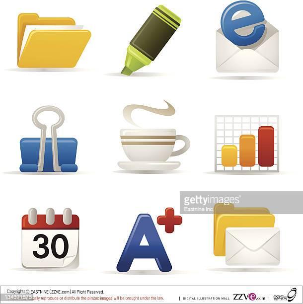 stockillustraties, clipart, cartoons en iconen met computer icon set - e mail