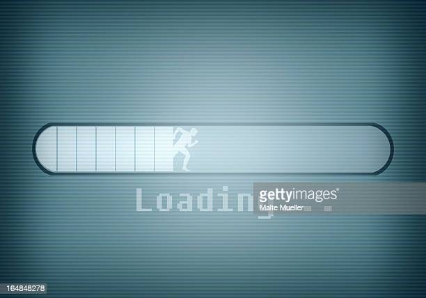 a computer message showing a loading bar and a silhouetted man running - digital enhancement stock illustrations