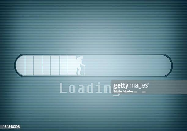 a computer message showing a loading bar and a silhouetted older man walking with cane - the ageing process stock illustrations