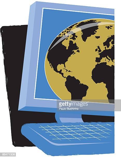 ilustrações de stock, clip art, desenhos animados e ícones de a computer monitor with the world on it - buchinho