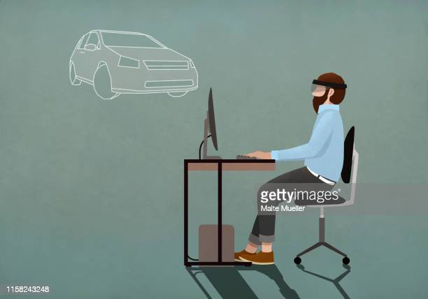 computer programmer with virtual reality simulator glasses working at computer - consumerism stock illustrations